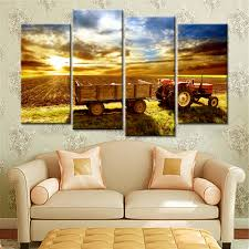 harvested farmland 4 pieces landscape canvas painting for living