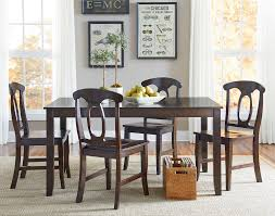 5 piece dining table set with open oval splat back chairs by