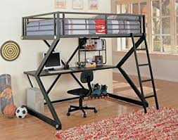 Amazoncom Coaster Loft Bed Full Size Work Station Kitchen  Dining - Full size bunk bed with desk