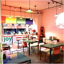 colorful kitchen table cafe with decor has a nice black color