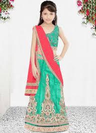 buy this green net wedding wear embroidered work kids lehenga