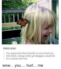 Little White Girl Meme - mexic anus you appreciate that butterfly on your head you little