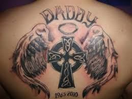 upper back daddy memorial cross in angel wings tattoo golfian com
