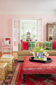 shabby chic living space with green pink hint gold color schemes