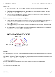 cambridge level 8 chemistry states of matter notes worksheets