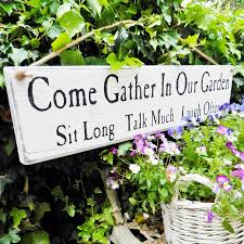 personalised u0027come gather in our garden u0027 sign garden signs and