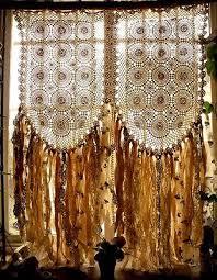 Crochet Valance Curtains Boho Hippie Crochet Curtain Fabric Garland Valance Wedding