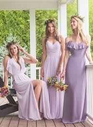bridesmaids dress in lavender and wisteria bari bridesmaids
