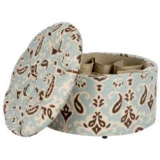 Ikat Storage Ottoman Safavieh Tanisha Light Blue White And Brown Storage Ottoman