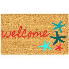 Coco Doormat Sand And Starfish Coco Coir Doormat Beach Welcome Mat