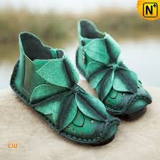 womens boots green leather handmade flower applique leather shoes cw305035