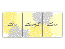 Grey And White Wall Decor Home Decor Wall Art Live Laugh Love Yellow Wall Art Flower