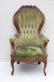 vintage chair with tufted sage green chenille upholstery and