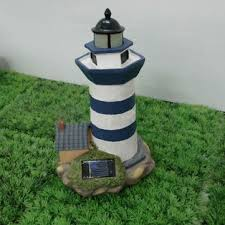 solar power resin lighthouse decoration led light for garden park