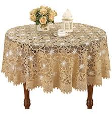 Crochet Table Cloth Amazon Com Ak Trading 60 Inch Round Ivory Floral Lace Crochet