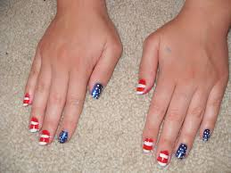 the who cried glitter patriotic nail design for the 4th of july