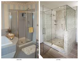 fancy small bathroom remodel with larger glass shower enclosure