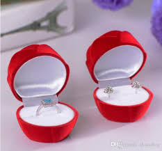 jewelry rings box images Online cheap pink red rose wedding ring box velvet pendant jpg