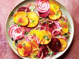 peach and beet carpaccio chatelaine