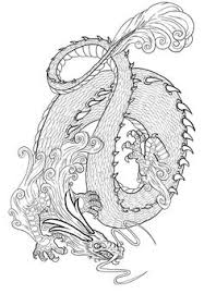 free coloring coloring simple chinese dragon simple
