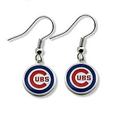 dangler earrings mlb chicago cubs logo dangler earrings sports fan