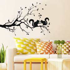 popular vintage animal wallpaper buy cheap vintage animal wall stickers squirrel on long tree branch wall sticker animals cats art decal kids room vintage