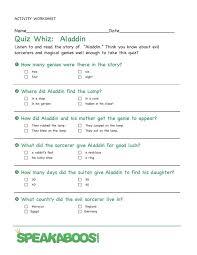 quiz whiz aladdin speakaboos worksheets quiz education kids