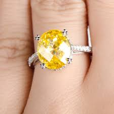canary engagement ring canary cz oval cut engagement ring