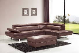 Living Room Furniture Designs Decor Brown Leather Sectional Sofa With Audio Center For Modern
