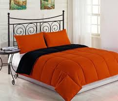 reversible down alternative comforter set orange black