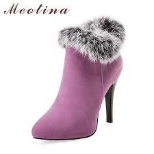 womens size 11 ankle boots meotina shoes high heels ankle boots winter boots fur