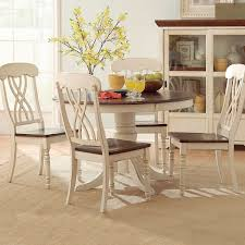 round dining room table sets coffee at overstock kitchen tables tribecca home mackenzie round country antique white dining table ideas with overstock images