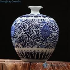Blue And White Vases Antique Rzfq15 Blue And White Narrow Short Neck Vintage Hand Paint China
