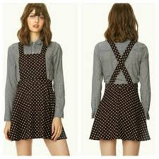 forever 21 brown polka dot overall dress from alpha u0027s closet on