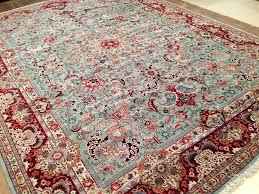 Green Persian Rug 11 X 15 Antique Persian Tabriz Hand Knotted Wool Green Maroon Fine