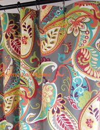 72 X 78 Fabric Shower Curtain Custom Shower Curtain Whimsy Paisley Mardi Gras Plum Yellow Green