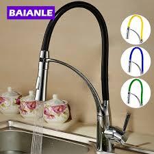 single handle pull down kitchen faucet baianle single handle pull down kitchen faucet black and chrome