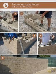 gartenmauer selber bauen das errichten einer betonsteinmauer