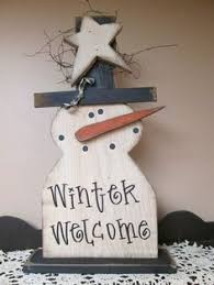 hanging snowman block set wood craft items winter