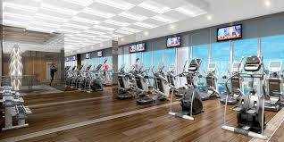 natural modern fitness center design with wooden floor design and