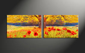 2 piece red flowers yellow scenery artwork
