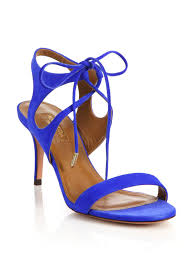 aquazzura colette suede ankle tie sandals in blue lyst