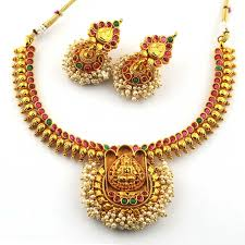 kempu earrings anvi s traditional lakshmi temple jewellery necklace and