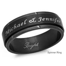 mens spinner rings personalized black stainless steel spinner ring forevergifts