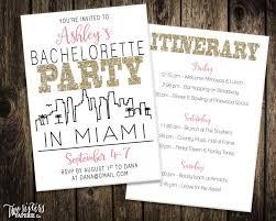 Wedding Invitations Miami Miami Bachelorette Party Invitation And Itinerary Miami