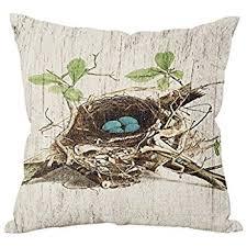How Do I Make Cushion Covers Amazon Com Bird U0027s Nest Throw Pillow Case Vintage Cushion Cover