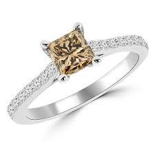 brown diamond engagement ring 1 carat vs1 princess cut chagne brown diamond engagement ring