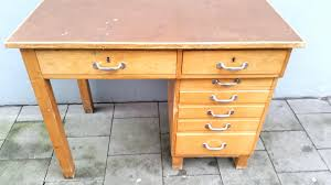 vintage wooden desk with drawers for sale at pamono