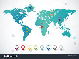 Pin World Map by Abstract World Map Pin Points Stock Vector 220469101 Shutterstock