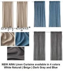 Ikea Beige Curtains Ikea Curtains 100 Linen Aina 1 Pair Drapes Window Panels Gray